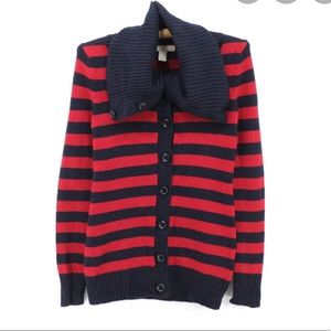 Navy and red striped cardigan